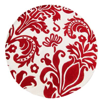 Olney Hand-Tufted White/Red Area Rug Rug Size: Round 6