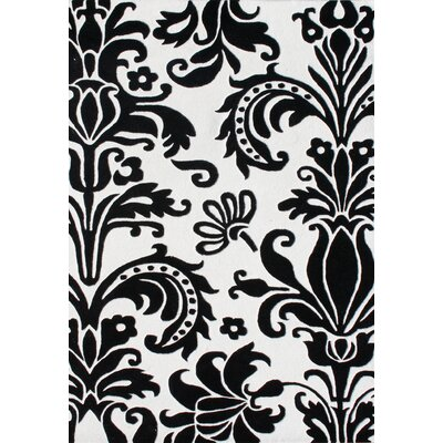 Ophir Hand-Tufted White/Black Area Rug Rug Size: Rectangle 5 x 8