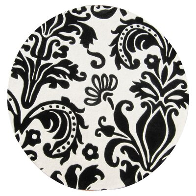 Ophir Hand-Tufted White/Black Area Rug Rug Size: Round 6