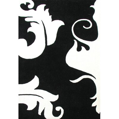 Oretown Hand-Tufted White/Black Area Rug Rug Size: 5 x 8