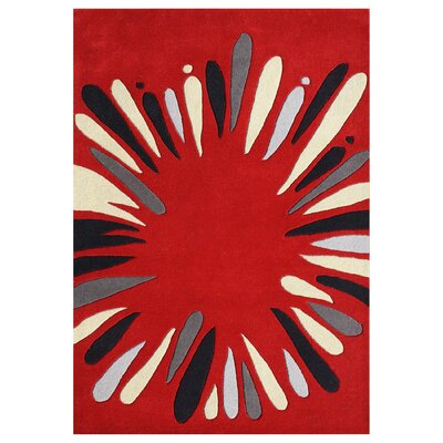Pedee Hand-Tufted Red Area Rug