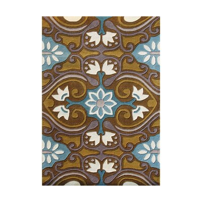 Plush Hand-Tufted Blue/ Brown Area Rug