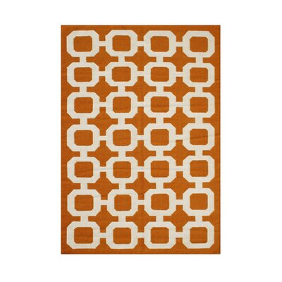 Paisley Hand-Tufted Orange/ Beige Area Rug Rug Size: 5 x 8