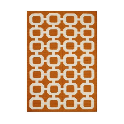 Paisley Hand-Tufted Orange/ Beige Area Rug Rug Size: 8 x 10