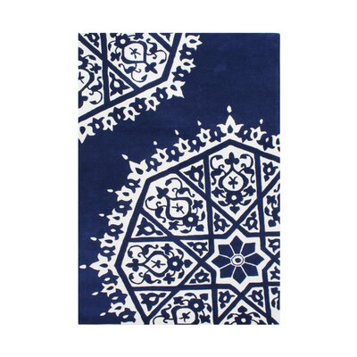 Quincy Hand-Tufted Blue/White Area Rug Rug Size: 5 x 8