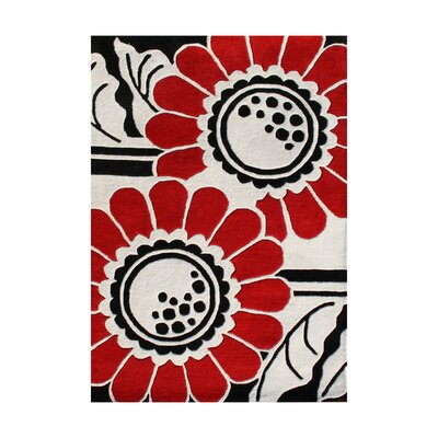 Rhododendron Hand-Tufted Red/White Area Rug