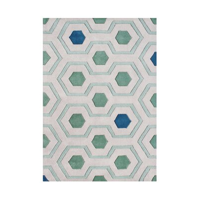 Ripplebrook Hand-Tufted White/Green Area Rug