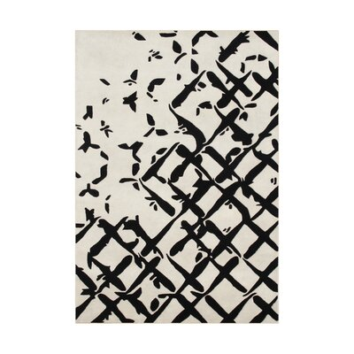Riverside Hand-Tufted Ivory/Black Area Rug Rug Size: 5' x 8'