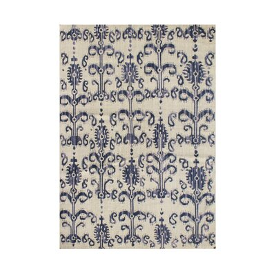 Rose Hand-Tufted Ivory/Blue Area Rug Rug Size: 5 x 8