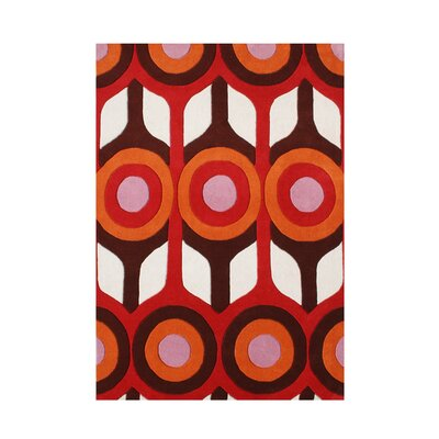 Rivergrove Hand-Tufted Red/Brown Area Rug