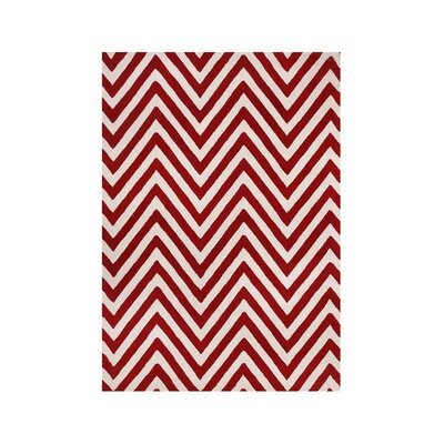Shedd Hand-Tufted Red/White Area Rug Rug Size: 5 x 8