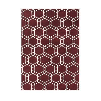 Sterlingville Hand-Tufted Dark Red Area Rug Rug Size: 5 x 8