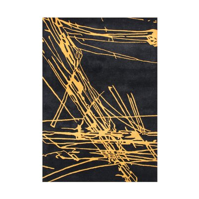 Sunnyside Hand-Tufted Black/Yellow Area Rug Rug Size: 5 x 8