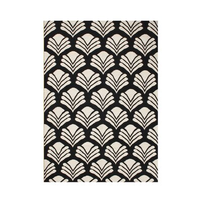 Scio Hand-Tufted Black/Cream Area Rug Rug Size: Rectangle 5 x 8