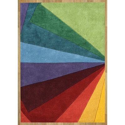 Ukiah Hand-Tufted Green/Red Area Rug Rug Size: 9 x 12