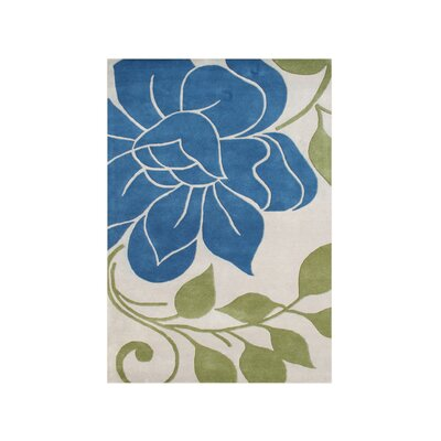 Valsetz Hand-Tufted Ivory/Blue Area Rug Rug Size: Rectangle 8 x 10