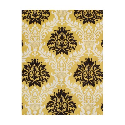 Van Hand-Tufted Yellow/Black Area Rug Rug Size: Rectangle 5 x 8