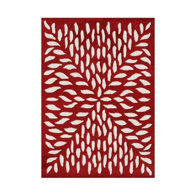 Vernonia Hand-Tufted Red/White Area Rug Rug Size: 5 x 8