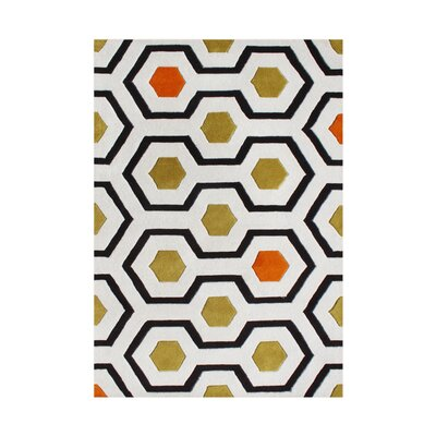 Waldo Hand-Tufted White/Green Area Rug Rug Size: Rectangle 9 x 12