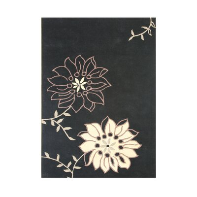 Warren Hand-Tufted Black/Cream Area Rug Rug Size: 5 x 8