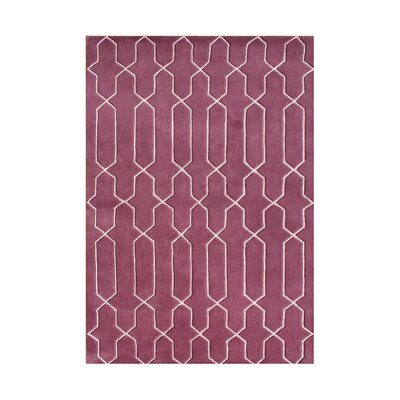 Welches Hand-Tufted Dark Red Area Rug Rug Size: 9 x 12