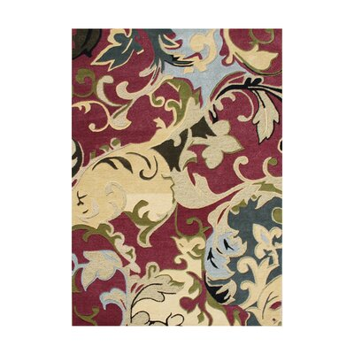 West Stayton Hand-Tufted Red/Yellow Area Rug Rug Size: 5 x 8