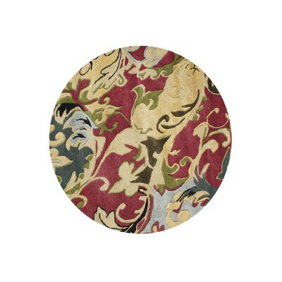 West Stayton Hand-Tufted Red/Yellow Area Rug Rug Size: Round 6