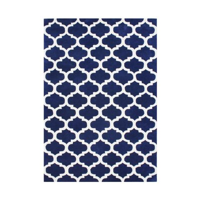 Willowcreek Hand-Tufted White/Blue Area Rug Rug Size: 5 x 8