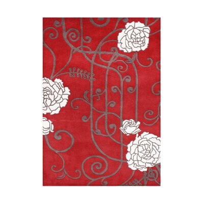 Wimer Hand-Tufted Red Area Rug Rug Size: 8 x 10