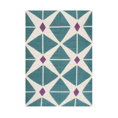 Waterloo Hand-Tufted Aqua/White Area Rug Rug Size: Rectangle 5 x 8