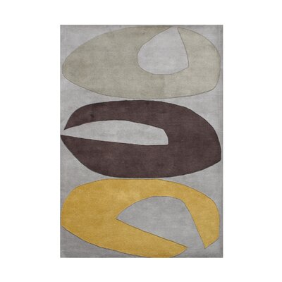 Weston Hand-Tufted Grey/Brown Area Rug Rug Size: 5 x 8