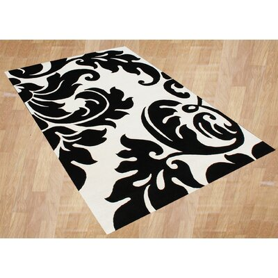 Kooskia Hand-Tufted White/Black Area Rug