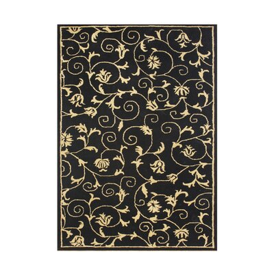 Leadore Hand-Tufted Black Area Rug