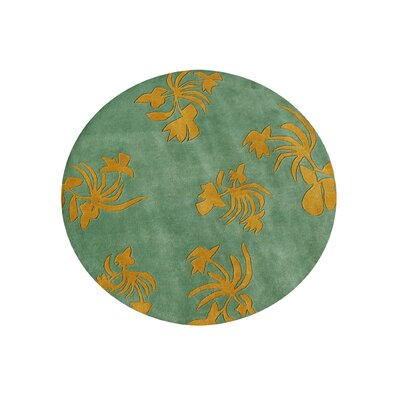 Nampa Hand-Tufted Green Area Rug