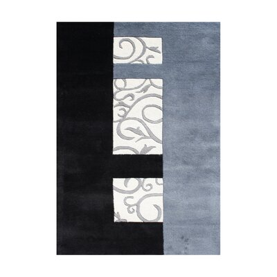 Rathdrum Hand-Tufted Black/Light Blue Area Rug