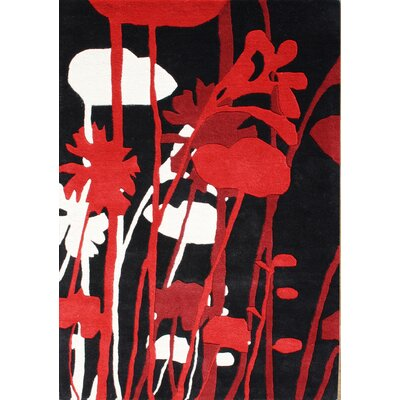 Rupert Hand-Tufted Black/Red Area Rug