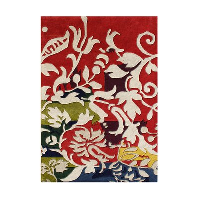 Tetonia Hand-Tufted Red/Cream Area Rug