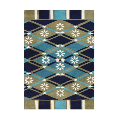 Juan Hand-Tufted Amber Green/Blue Area Rug
