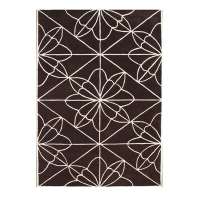 Rodriguez Hand-Tufted Chocolate Brown Area Rug Rug Size: 5 x 8