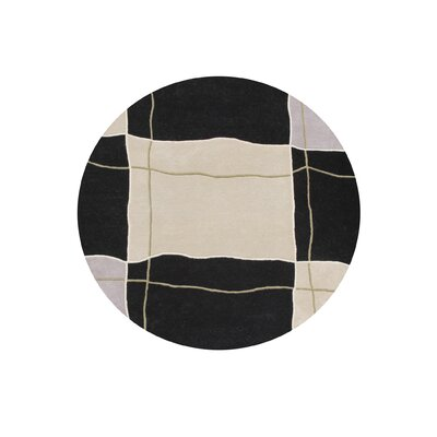 Cadillac Hand-Tufted Black/Beige Area Rug Rug Size: Round 6