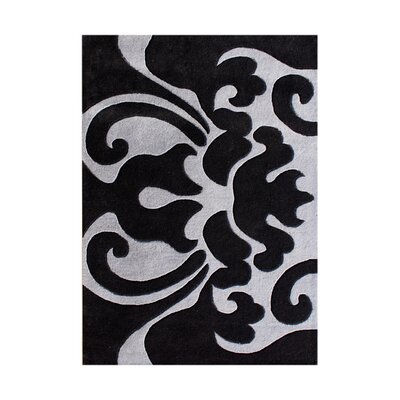 Antoine Hand-Tufted Black/Grey Area Rug Rug Size: 5 x 8