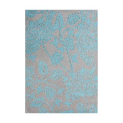 Jacques Hand-Tufted Silver Cloud/Teal Area Rug Rug Size: 5 x 8