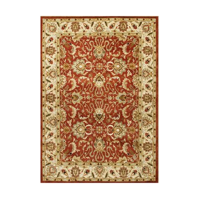 Charlevoix Hand-Tufted Soft Red/Gold Area Rug Rug Size: 9 x 12