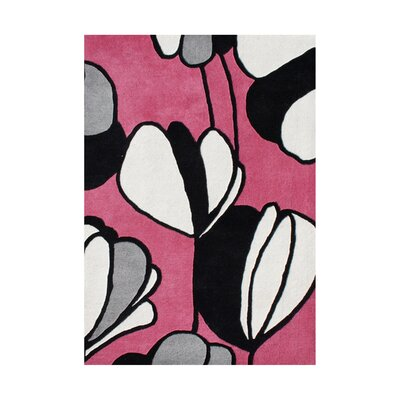 Gaspar Hand-Tufted Pink/White Area Rug