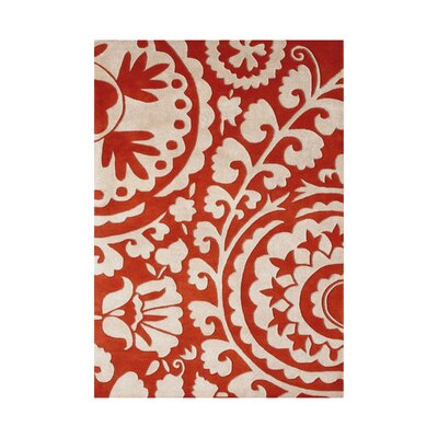 Cortes Hand-Tufted Tomato Red/White Area Rug