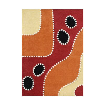 De Portola Hand-Tufted Flame Orange Area Rug Rug Size: 8 x 10