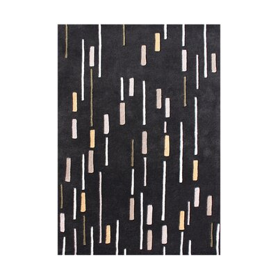 Bernal Hand-Tufted Black Area Rug Rug Size: 5 x 8