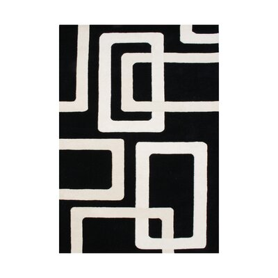Leif Hand-Tufted Black Area Rug Rug Size: 5 x 8