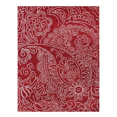La Verendrye Hand-Tufted Red Area Rug Rug Size: 9 x 12