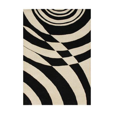 Peter Hand-Tufted Black Area Rug Rug Size: 5 x 8
